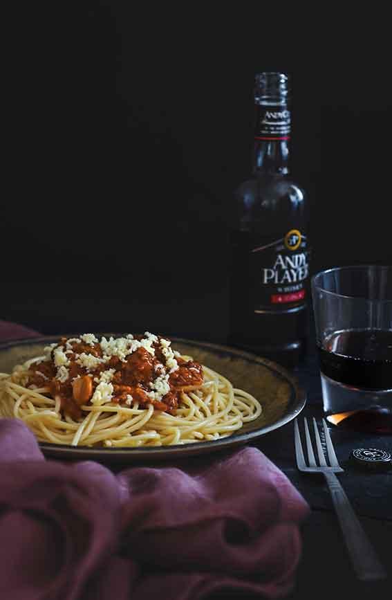 italian meat marinara pasta and wine
